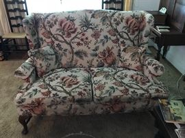 Love seat with wing back, Queen Anne legs and tapestry fabric