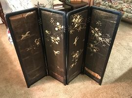 Asian screen hand painted on silk