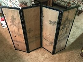 Asian screen hand painted on linen