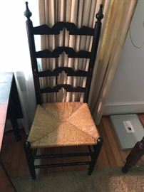 6 ladder back chairs with rush seats made by hand in the 1950's