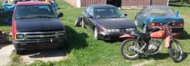 1976 Honda 125 dirt bike, 98' Saturn four door, 91' Geo Metro convertible, 94' Chevrolet S10, automotive parts