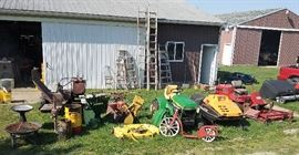 John Deere 212 mower, Skidoo Citation, Mighty Mac chipper/shredder, Toro groundmaster, zero turn. vintage scooter bike