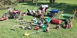 String trimmers, tillers, yard cart, post hole augers