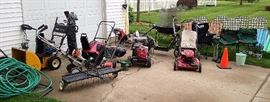 Schwinn scooter, Honda power washer, Toro self propel mower, Toro snow blower, Cub Cadet snow blower, Stihl tiller, Black & Decker edger, yard thatcher, Minn kota trolling motor