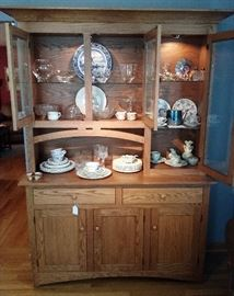 Amish oak china cabinet