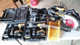 Dewalt drills, Dewalt palm sander, Craftsman jig saw, circular saw