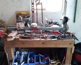 wood lathe, plane, Jorgensen clamps