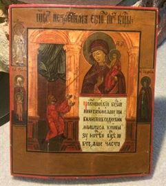 "19th century Russian icon of Mother of God ""Unexpected Joy"", tempera on wood, 12"" x 14""."