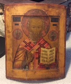 "18th century Russian icon of St. Nicholas of Myra, (aka ""The Wonderworker""), tempera on curved wood, 12"" x 14"". Purchased in Germany in 1977."