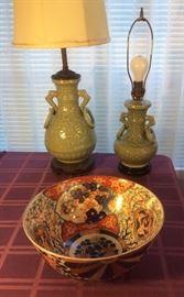"""Vintage Chinese celadon lamps, Japanese Imari bowl (12"""" diameter)"""