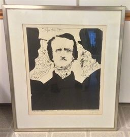 "Lithograph of Edgar Allan Poe by Horst Janssen (German, 1929 -1995), signed & dated 1966 lower right, framed size 24.5"" x 29"""