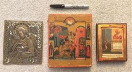 3 smaller antique Russian icons (Sharpie for scale): Brass & enamel travel icon of St. John the Baptist, Beheading of St. John the Baptist (tempera on wood), Mother of God Unexpected Joy (tempera & gold leaf on wood)