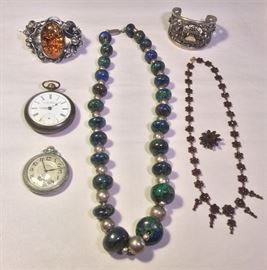 More jewels: Handmade amber & silver bracelet, Waltham pocket watches, sterling & lapis necklace, ornate Peruzzi 800 silver bracelet, old Bohehiam garnet necklace & pin