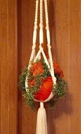 vintage macrame plant holder