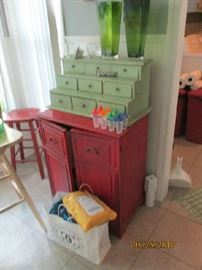 RED PAINTED CABINET AND DRAWER CABINET