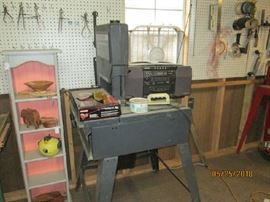 BAND SAW, SMALL BOOKCASE AND RADIO