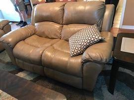 Leather loveseat and sofa