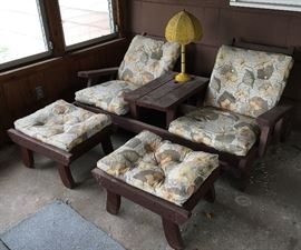 VTG Matching Redwood Chairs, Table (attached) & Ottoman's