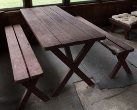 VTG Redwood Picnic Table & Benches