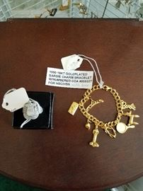"""Cisco Kid"" saddle ring and Barbie charm bracelet"