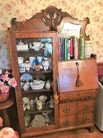 Pristine Condition Side Bookcase Secretary Desk