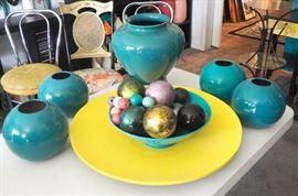 "Vases, Decorative Balls, Wood Platter 24"", And More"