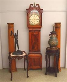 19th century Scottish Grandfather Clock. Carved Chinese stand, Champleve lamp etc