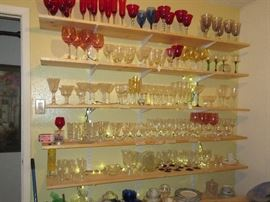 Colored barware, Fostoria, Cambridge Rosepoint, Tiffin June night. Meiken plates.