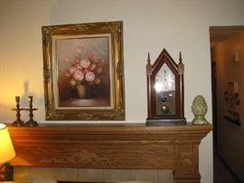 Baldwin brass candle sticks, antique steeple clock