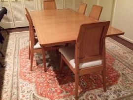 "Mid century ""Brown Saltman"" dining table & 6 chairs.  Purchased new in 1952.  Table measures 56""x38"" without leaves.  It has two 14"" leaves.  With the leaves included it measures 84""x38""."