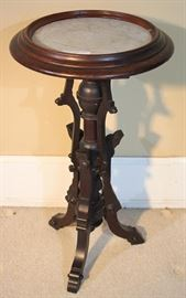 030a  Walnut Victorian lamp stand with white inserted marble, 29 in . T, 17 in. Dia.