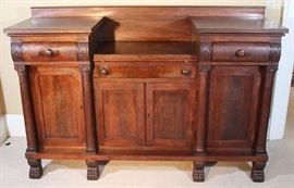 051a  Large Mahogany Empire sideboard with claw feet, silver drawer and serving slide, 47 in. T, 71 in. W, 18 in. D.