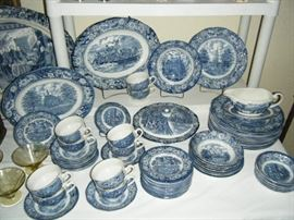 12 PLACE SETTING OF LIBERTY BLUE DINNERWARE. PERFECT CONDITION AND PRICED SEPERATELY.