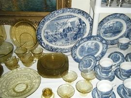 MORE LIBERTY BLUE AND AMBER MADRID  DEPRESSION GLASS. ALL ARE ANTIQUE AND COLLECTED PIECE BY PIECE