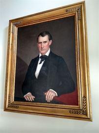 1850's framed oil portrait of a gentleman, restored 35 7/8 x 28 7/8 without frame