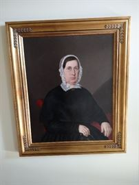 1850's framed oil painting on canvas of a woman, restored 35 7/8 x 28 7/8 without frame