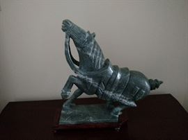 Chinese carved jade horse figure with papers