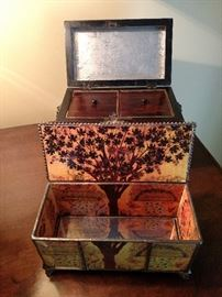 Opened boxes including antique English tea caddy and a hand painted glass box