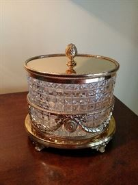 Antique English gilt and crystal biscuit jar