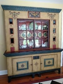 Baker Furniture Co. painted cupboard 80 inches wide, 94 inches tall and 21 1/2 deep at base top