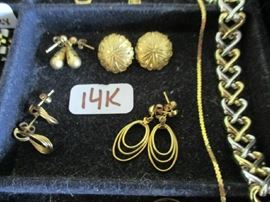 14K EARRINGS & 2 BRACELETS