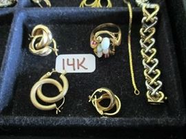 14K EARRINGS & RING W/STONES