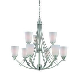Thomas Wright 9 Light Chandelier Matte Nickel Fini ...