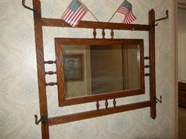 antique hat rack hall mirror