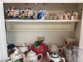 Apple cookie jar and Noah's ark teapots