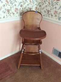 Vintage oak wooden high chair, excellent shape.