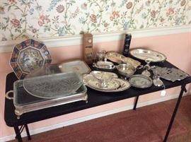 Imari like plates, Silverplate serving pieces.