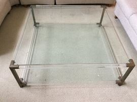 Glass & Lucite large cocktail table w/brass corners