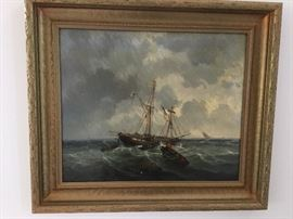 Oil painting of ship at sea in heavy wood frame