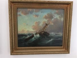 Oil painting of ship in distress in heavy wood frame